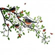 Branch with birds — Stock Vector