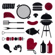Barbeque Grill Icons — Stock Vector