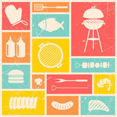 Iconos de parrilla barbacoa — Vector de stock