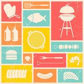 Grill grill ikoner — Stockvektor