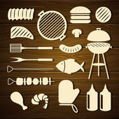 Barbecue Grill Icons — Stock Vector