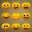 Scary Halloween Pumpkins — Stock Vector