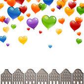 Heart Balloons Flying above a City — Stock Vector
