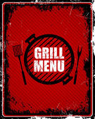 Grill Menu Sign — Stock Vector