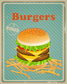 Vintage Burger Sign — Stock Vector