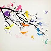 Větev s ptáky — Stock vektor