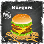 Vector Burger Poster on a Black Chalkboard — Stock Vector #45375531