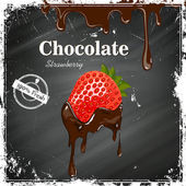 Vector Chocolate Strawberry Poster on a Black Chalkboard — Stock Vector