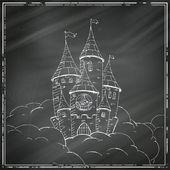 Vector Castle on a Black Chalkboard — Vetorial Stock