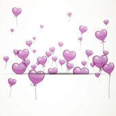 Vector Flying Heart Balloons — Stock Vector