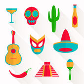Vector Flat Mexico Icons — Stock Vector
