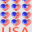 Vector a set of hearts with a flag USA and persons — Stock Vector