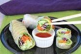 Sushi de vegetal com molho — Fotografia Stock