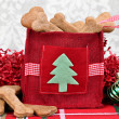 Homemade dog cookies in a decorative Christmas bag. — Stock Photo #40981613