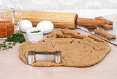 Making homemade pumpkin dog biscuits — Stock Photo