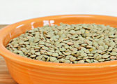 Raw lentil beans in a bowl.  Narrow selective focus on front. — Stock Photo