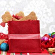 Christmas bag filled with homemade bone shaped dog biscuits. — Stock Photo #44567395