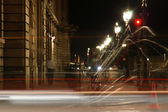 Long Exposure Shot of the Famous Parisian Lights after Midnight, Paris, France — Stock Photo