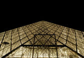 Louvre, Pyramid (by night), France — Стоковое фото