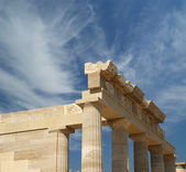 Partially rebuilt temple of Athena Lindia, Rhodes island, Greece — Stock Photo