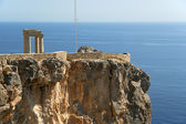 Partially rebuilt temple of Athena Lindia, Rhodes island, Greece — Stock Photo