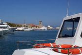 Rhodes island landmark, Mandraki Port, Greece — Stock Photo