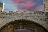 Medieval city walls in Rhodes town, Greece — Stock Photo