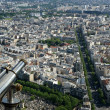 Telescope viewer and city skyline at daytime. Paris, France - Stock Photo