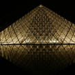 The Louvre Palace and the Pyramid (by night), France — Stock Photo