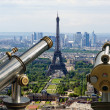 Stock Photo: Telescope viewer and city skyline at daytime. Paris, France