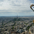 Telescope viewer and city skyline at daytime. Paris, France — Stock Photo