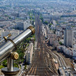 Telescope viewer and city skyline at daytime. Paris, France. — Stock Photo #18405389