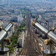 Telescope viewer and city skyline at daytime. Paris, France. — Stock Photo #18405429
