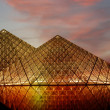 The Louvre Pyramid, (by night), France — Stock Photo