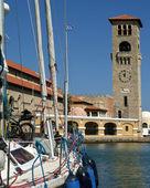 Rhodes island landmark, Mandraki Port, Greece. — Stock Photo