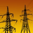 Electricity pylons and line — Stock Photo
