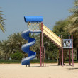 View of beautiful park (playground) in Dubai, UAE. Al Mamzar Bea — Stock Photo
