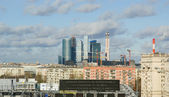 View of the city of Moscow and St. Andrew's Bridge, Russia — Stock Photo