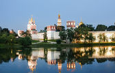 Novodevichy Convent (at night), also known as Bogoroditse-Smolensky Monastery, Moscow, Russia — Stock Photo