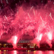 Stock Photo: Fireworks on embankment of MoskvRiver near Luzhniki Stadium, Russia.