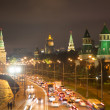 Stock Photo: Night view of the Moskva River and Kremlin, Russia, Moscow