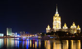 High-rise building at night, Moscow, Russia — Stock Photo