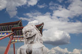Stone Guardian Lion Statue in Beihai Park -- is an imperial garden to the northwest of the Forbidden City in Beijing, China — Stock Photo