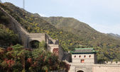 View of one of the most scenic sections of the Great Wall of China, north of Beijing — Stock Photo