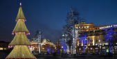 Christmas tree illuminated to Christmas and New Year holidays at night in Moscow, Russia — Stock Photo