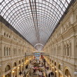 Interior of the Main Universal Store (GUM) on the Red Square in Moscow, Russia--- mall celebrates 120th aniversary in 2013. Inside view of the impressive structure and finish applied to the building — Stock Photo