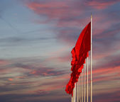 Red flags on the Tiananmen Square -- is a large city square in the center of Beijing, China — Stock Photo
