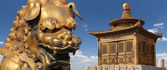 Bronze Chinese dragon statue and bronze pagoda in the Forbidden City. Beijing, China — Stock Photo