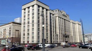 Edifício da duma do estado, da Assembléia federal da Federação Russa. Moscou, Rússia — Vídeo stock