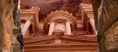 Al Khazneh or The Treasury at Petra, Jordan-- it is a symbol of Jordan, as well as Jordan's most-visited tourist attraction. Petra has been a UNESCO World Heritage Site since 1985 — Stock Photo